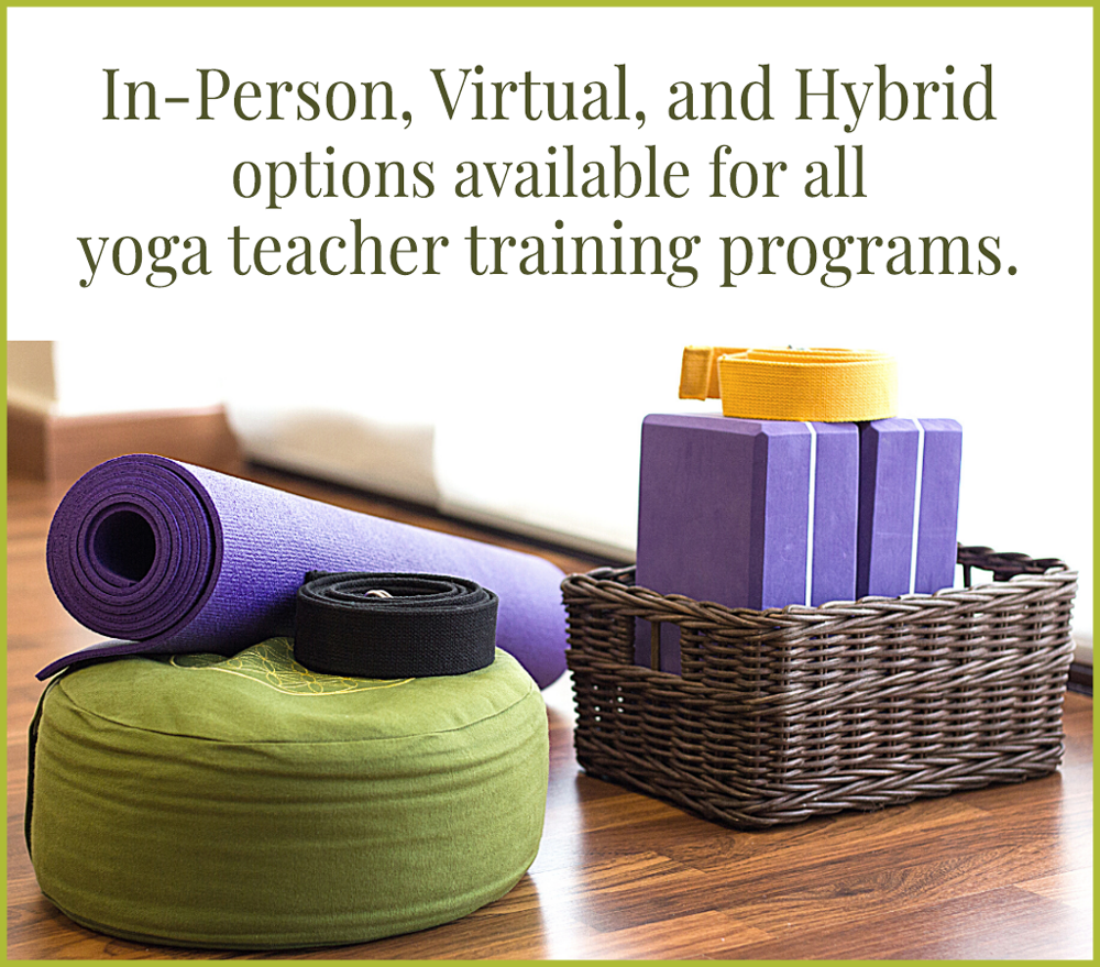 in-person, virtual and hybrid options available for all 200 hour yoga teacher training programs